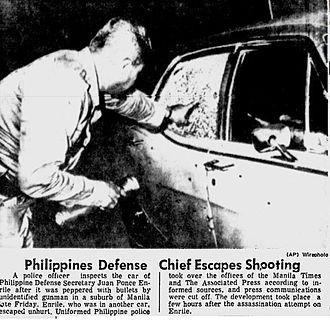 Juan Ponce Enrile - Juan Ponce Enrile's bullet-riddled car
