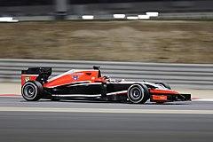 Jules Bianchi w bolidzie Marussi podczas wyścigu o Grand Prix Bahrajnu 2014