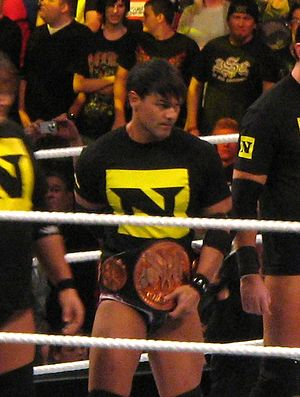 Justin Gabriel as WWE Tag Team Champion in 2010