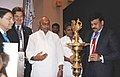 K. Chiranjeevi lighting the lamp to launch the UNWTO Conference on Sustainable Tourism Development, in Hyderabad. The Chief Minister of Andhra Pradesh, Shri N. Kiran Kumar Reddy, the Tourism Minister, Andhra Pradesh.jpg