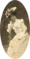 Kaiulani in white gown and hat, photograph by J. J. Williams.png