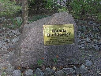 Wanda Rutkiewicz - A memorial stone at the entrance to the II LO in Wrocław