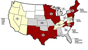 Kappa Alpha Psi - Map of the twelve provinces of Kappa Alpha Psi.
