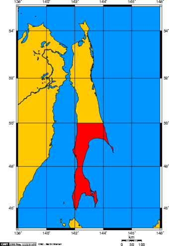 Sakhalin Island with Karafuto Prefecture highlighted Karafuto map.png