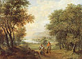 Karl von Kügelgen, Weite, bewaldete Flusslandschaft mit einem Reiter und Bettlern.jpg