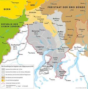 Transalpine campaigns of the Old Swiss Confederacy - Image: Karte Ennetbirgische Vogteien