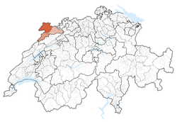 Map of Switzerland, location of ایالت ژورا highlighted