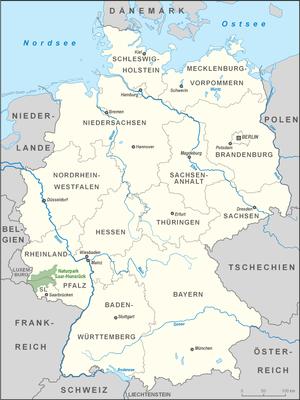 Saar-Hunsrück Nature Park - Location of the Saar-Hunsrück Nature Park