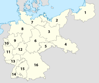 Gauliga - The initial 16 districts of the Gauliga in 1933.