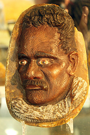 Kauri gum - A 19th-century carving of a tattooed Maori from kauri gum. The carving is owned and displayed by the Dargaville Museum, New Zealand.