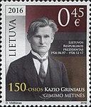 Kazys Grinius 2016 stamp of Lithuania.jpg