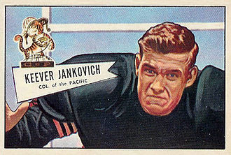 Keever Jankovich - Jankovich on a 1952 Bowman football card