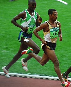 10,000 metres - Kenenisa Bekele (right), the current 10,000 m world record holder.