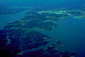 Lake Barkley - Aerial view of Kentucky Lake and Lake Barkley. Lake Barkley is on the right. The canal connecting Lake Barkley to Kentucky Lake is visible at left-center.