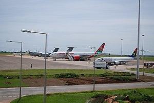 Lilongwe International Airport - Kenya Airways and South African Airways planes ground handling at Lilongwe Airport