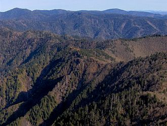 Mount Kephart - Jagged, V-shaped ridges comprise the aftermath of the violent billion-year history of the Smokies, looking east from The Jumpoff