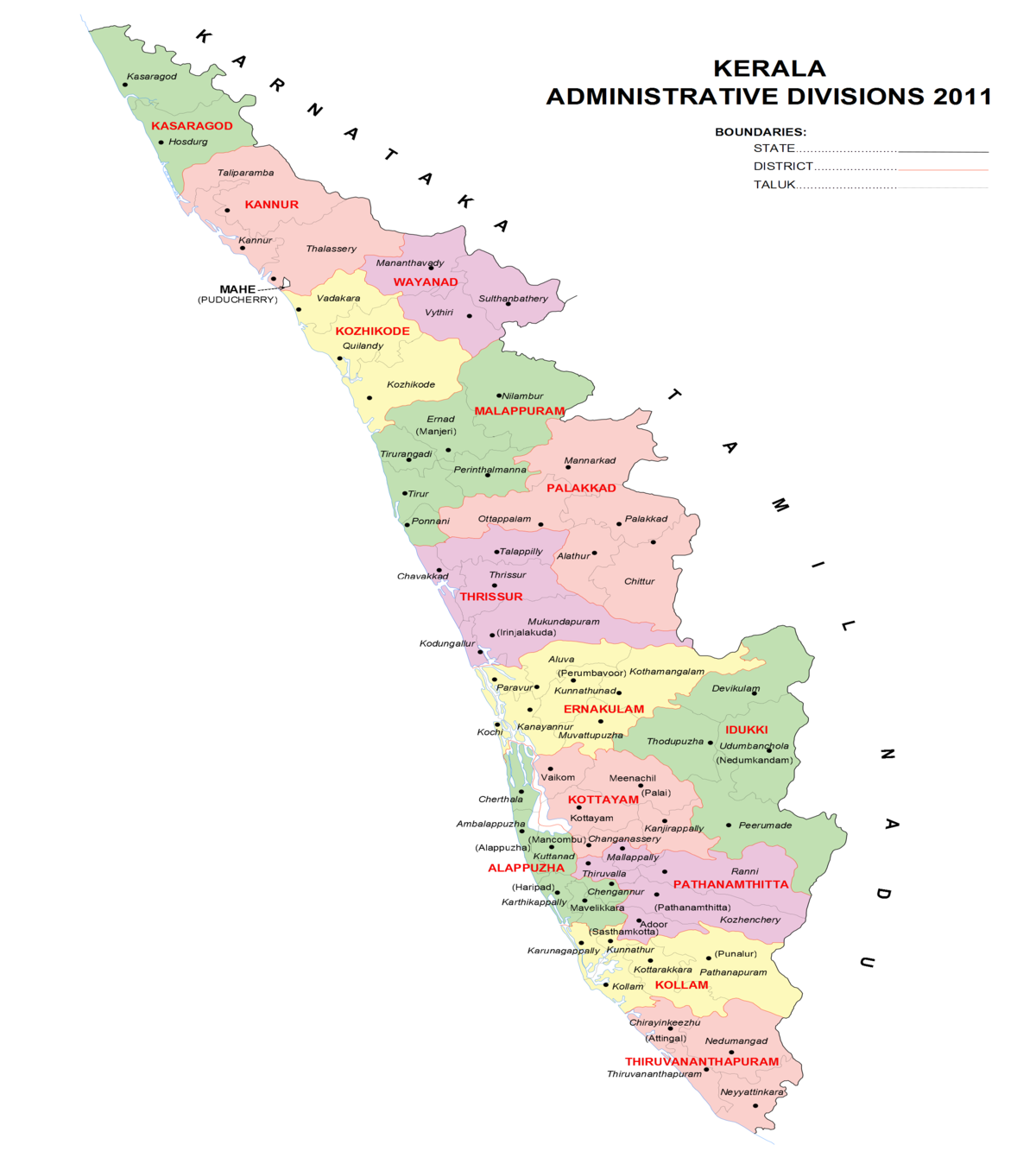 Taluks Of Kerala Wikipedia - Kannur map