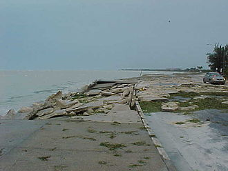 Effects of Hurricane Georges in Florida - Damage to the seawall along South Roosevelt Blvd. on the south side of Key West, Florida