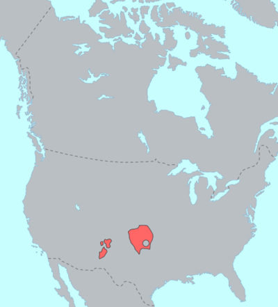Distribution of Tanoan languages before European contact. The pueblo languages are at the left; the nomadic Kiowa at right Kiowa-Tanoan langs.png