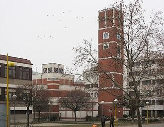 Am Schöpfwerk Church - Am Schöpfwerk Church showing belltower