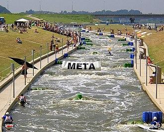 Kraków-Kolna Canoe Slalom Course - Image: Krakow tor kajakrastwa gorskiego (cropped)