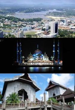 Aerial view of Kuala Terengganu, The Crystal Mosque of the Islamic Heritage Park, and Terengganu State Museum.