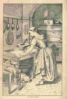 Interno di una cucina nel frontespizio di La cuciniera genovese (edizione 1877)