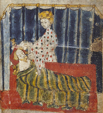 Alliterative verse - Sir Gawain and the Green Knight is a well-known alliterative poem in Middle English (from original manuscript, artist unknown).