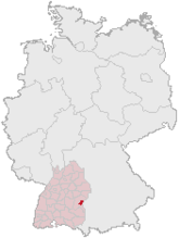 Map of Germany, Position of اولم highlighted