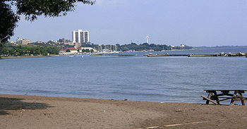 Lake Ontario and beach seen from Toronto, Ontario's Humber Bay, west of downtown