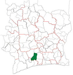 Location in Ivory Coast. Lakota Department has retained the same boundaries since its creation in 1980.