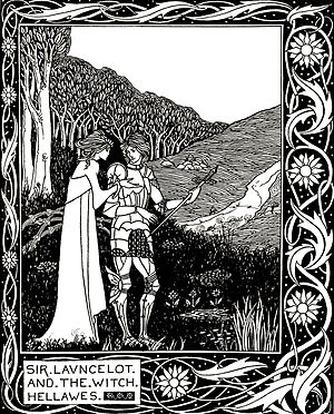 """Hellawes (sorceress) - An 1870 illustration by Aubrey Beardsley: """"Sir Launcelot and the witch Hellawes"""""""