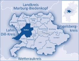 Lage der Stadt Gießen im Landkreis Gießen