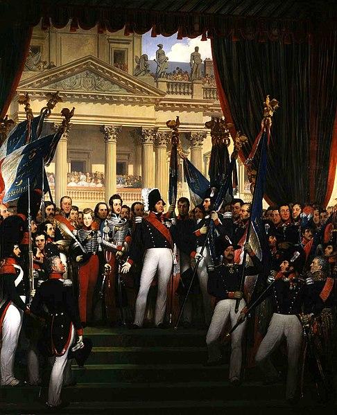 Joseph-Désiré Court (1797–1865): Louis Philippe I giving flags to the National Guard of Paris (1830).