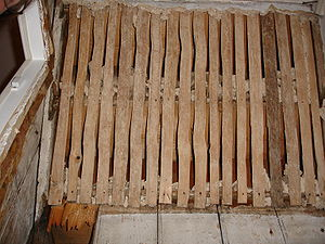 Lath - Riven lath, each piece has been split from a log