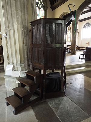 St Edward King and Martyr, Cambridge - The pulpit, from which Hugh Latimer preached during the English Reformation