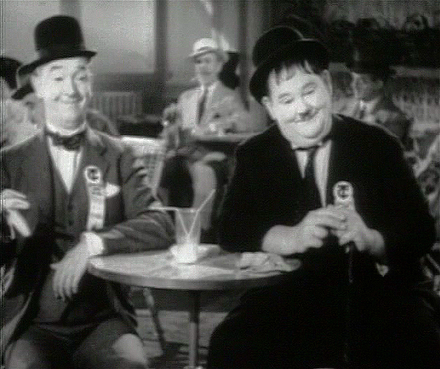 Laurel and Hardy in the 1939 film The Flying Deuces. Laurel and Hardy were one of the first pairings, appearing in buddy films from the 1930s onward.