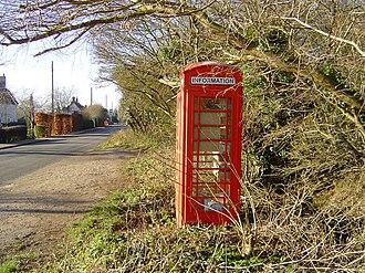 The Street, Lawshall - Re-use of red telephone box as a small book swap shop.