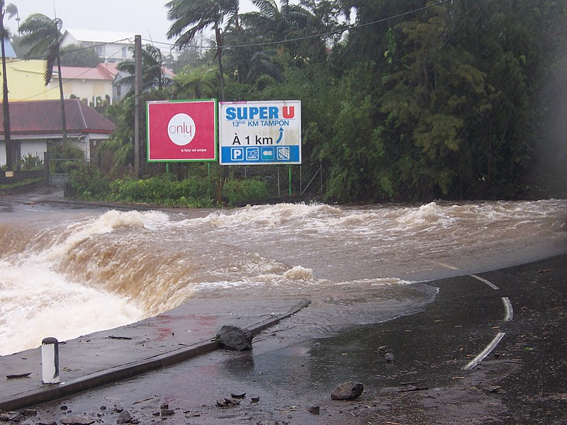 The Ravine blanche in spate during the typhoon Gamede flooding over the main road (Route nationale 3) at Le Tampon, (Réunion island)