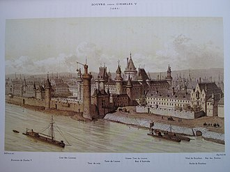 Louvre Castle - The Louvre in 1380 (under Charles V) as imagined in 1885.