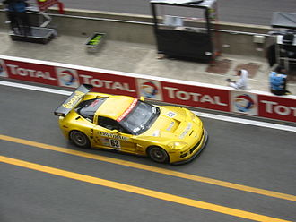 Chevrolet Corvette C6.R - A C6.R driving down the pit lane during the 2005 24 Hours of Le Mans.