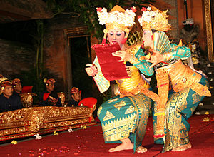 Balinese dance - Two Balinese dancers performing the farewell scene dance drama.