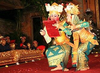 Balinese dance - Two Balinese dancers performing the farewell scene dance drama.