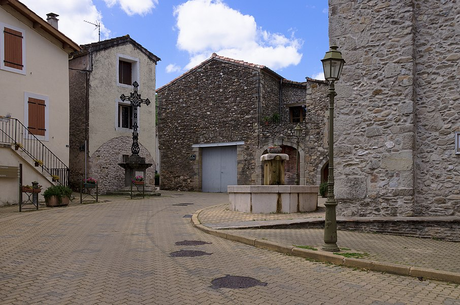 Main square of the village. Commune of Les Aires, Hérault, France. Haut-Languedoc Regional Natural Park.