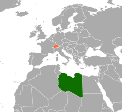 Map indicating locations of Libya and Switzerland