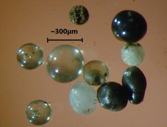 Micrometeorite - Figure 2. Light microscope images of stony cosmic spherules.