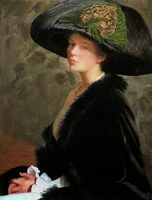 Lilla Cabot Perry - Self portrait, The Green Hat, 1913