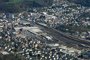 Limburg (Lahn) station - Aerial view of the station from the west