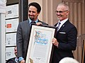 Lin-Manuel Miranda Walk of Fame ceremony (with Los Angeles City Councilman Mitch O'Farrell) (46074097712).jpg