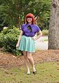 Little Mermaid Inspired Outfit- Bright Red Hair, Purple Silk Shirt, Sequined Green Skater Skirt (18655551454).jpg